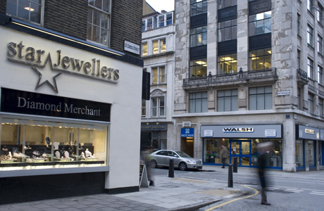 The jewelry district of Hatton Garden, London, England, United K